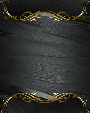 classy background: Design template - Black rich texture with black edges and gold trim