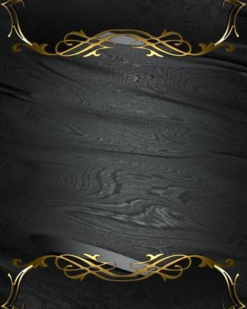 placa bacteriana: Plantilla de dise�o - Negro textura rica con bordes negros y adornos de oro