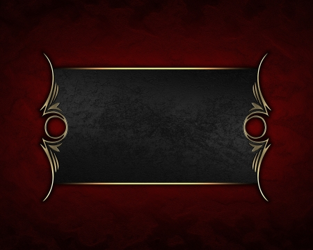 Design template - Red texture with gold name plate with gold ornate edges Stock Photo - 17430487