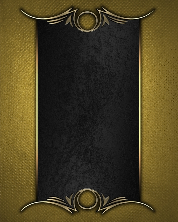 Design template - Gold texture with black name plate with gold ornate edges photo