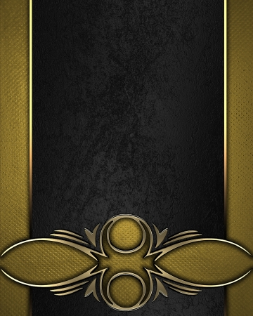 Design template - Gold texture with black name plate with gold ornate edges Stock Photo - 17430441