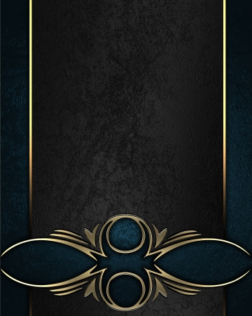 Design template - Blue texture with black name plate with gold ornate edges photo