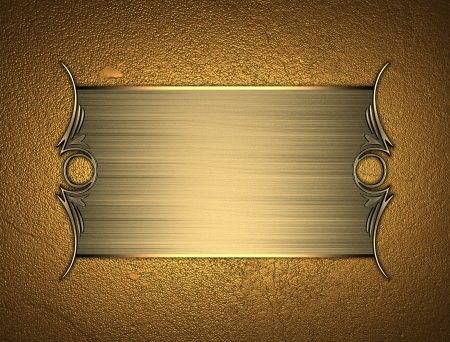 Design template - Gold texture with beautiful Gold nameplate with gold ornate edges Stock Photo - 17430307