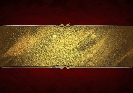 Design template - Red texture with gold nameplate with gold ornate edges Stock Photo - 17430727