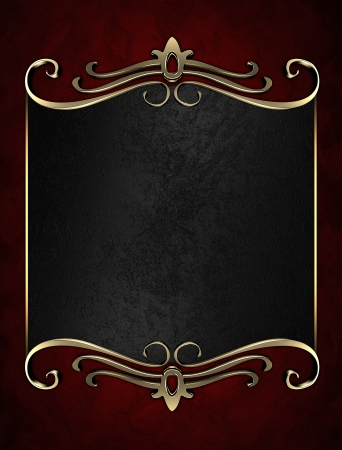 Template for writing. Black name plate with gold ornate edges, on red background Stock Photo - 17430498