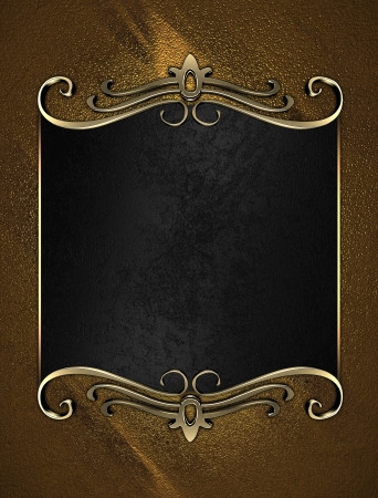 Template for writing. Black name plate with gold ornate edges, on gold background photo
