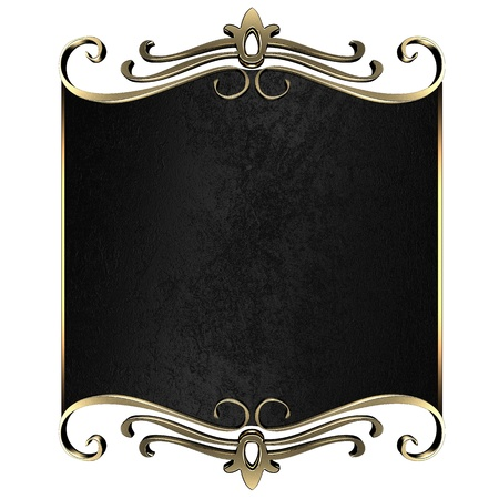 Template for writing. Black nameplate with gold ornate edges, isolated on white background photo
