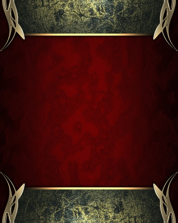Design template - Red texture with Grunge Black edges and gold trim Stock Photo - 17430587