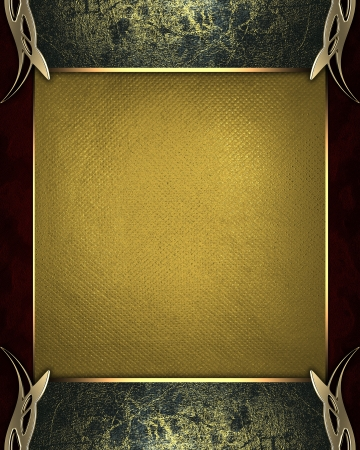 Design template - Black edges grunge with gold trim and with golden name plate photo