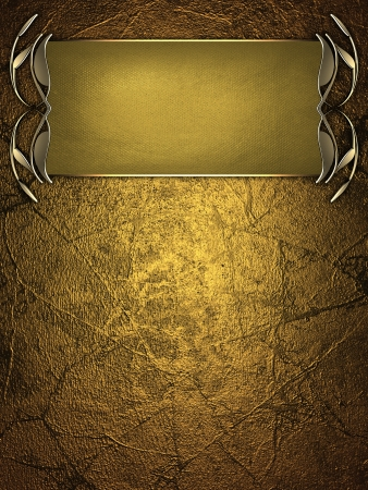 Template for writing. Gold name plate with gold ornate edges, on gold background Stock Photo - 17430671