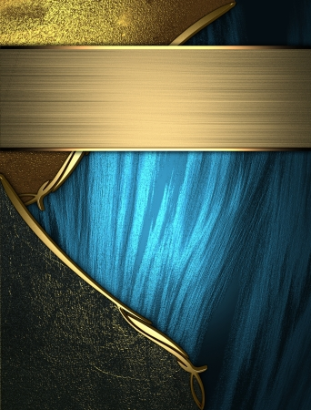 blue plaque: Design template - Blue grunge texture with golden edges with black and gold trim
