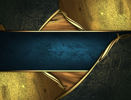 Design template - Gold texture with golden and black edges gold trim and blue name plate photo