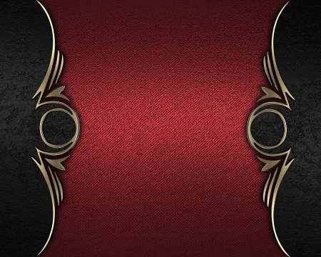 Design template - Red rich texture with black edges and gold trim Stock Photo - 17706394