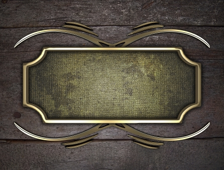 Design template - Wooden texture with gold name plate with gold ornate edges Stock Photo - 17706453