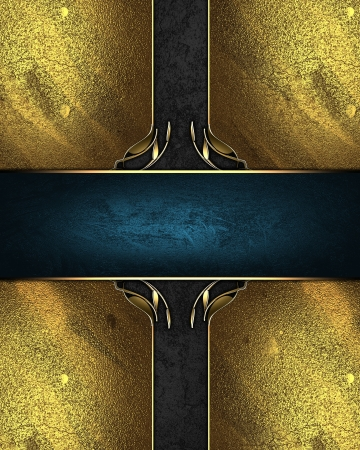 Design template - Golden plate with gold trim with ribbons of black and blue photo