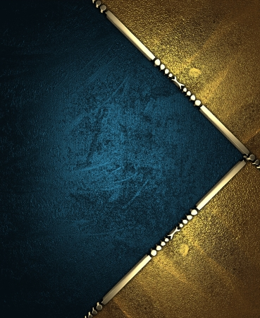 Design template - Blue rich texture, with gold corners and gold trim Stock Photo - 17706494