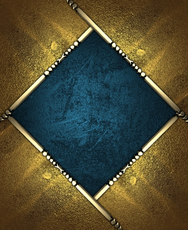Design template - Blue rich texture, with gold corners and gold trim Stock Photo - 17706509