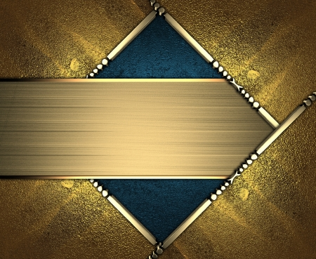 Design template - Blue rich texture, with gold corners and gold trim. Gold nameplate Stock Photo - 17706501