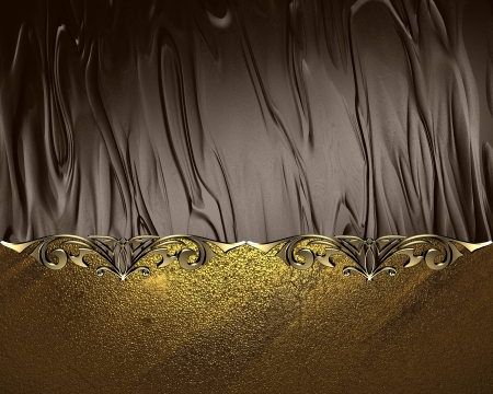 Gold name plate with gold ornate edges, on brown background photo