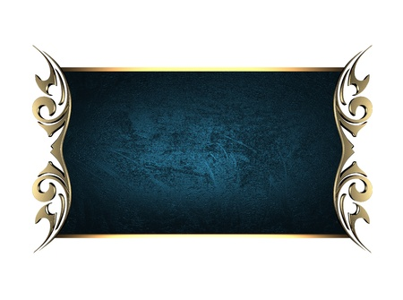 Template for writing. Blue nameplate with gold ornate edges, isolated on white background