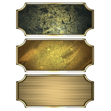 Design template - Three gold frames isolated on white background Stock Photo