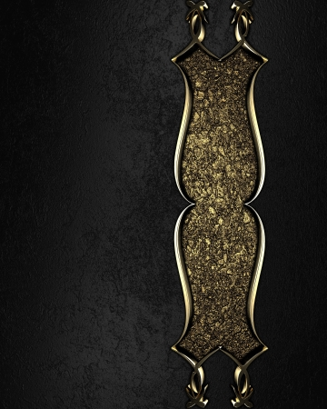 Design template - Black texture with a beautiful plaque with gold pattern photo