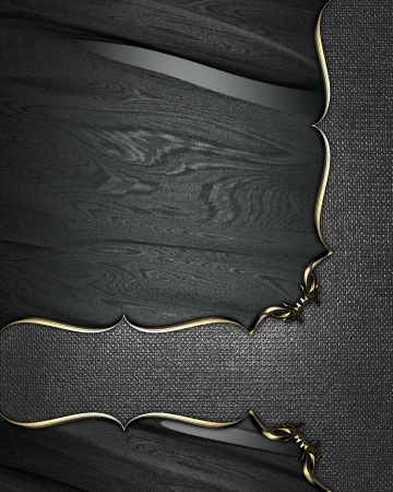 Design template - Black texture with a iron plate with gold pattern photo