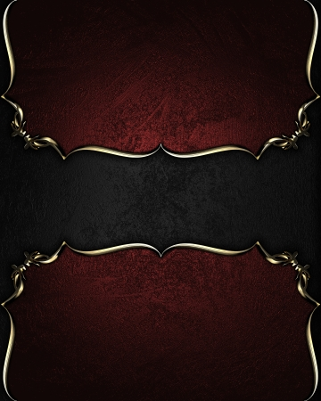Design template - Red texture with a black plate with gold pattern photo