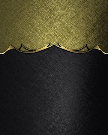 Template for inscription. Black texture with gold nameplate and gold trim