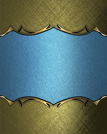 Design template - Blue rich texture with golden edges and gold trim photo