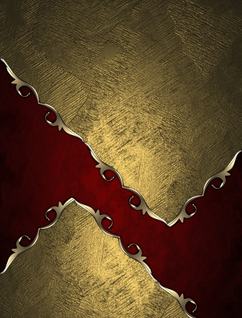 Design template - Gold texture with red inserts and gold trim photo