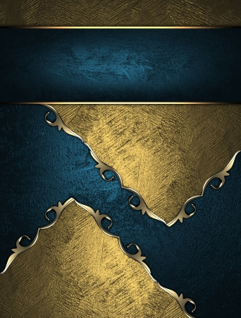 Design template - Gold texture with blue inserts and blue nameplate Stock Photo - 17837349