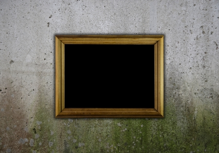 Template for inscription. Old grunge wall,  and wooden frame photo