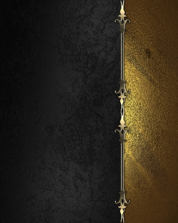 Design template. Gold plate with gold ornate edges, on black background. photo