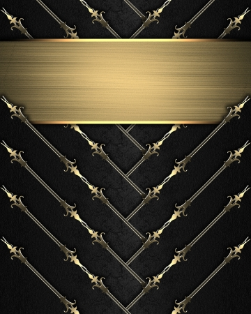 Template for design. Black ribbons with gold nameplate photo