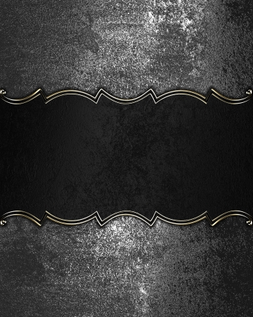 Grunge iron Texture with black nameplate and gold trim Stock Photo - 17837458