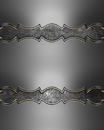 Template for design. Iron texture with iron nameplate and gold trim Stock Photo - 17837451