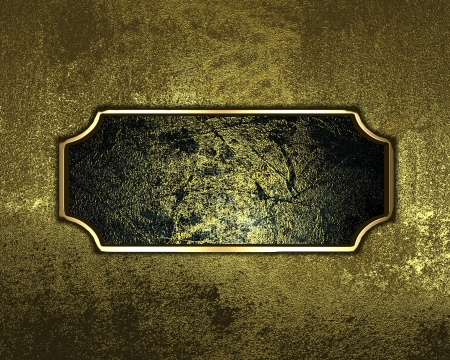 Grunge gold texture with dark name plate with gold ornate edges photo