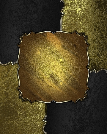 Background with black and gold accents and a sign from gold with gold trim Stock Photo - 17937648