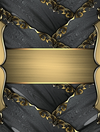 Template for design. Black ribbons with gold trim and gold nameplate photo