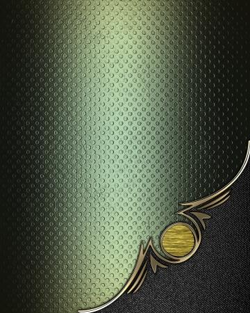 Plantilla de dise�o - Grunge textura verde con �ngulo de borde dorado y negro Foto de archivo - 17937662