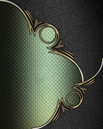 Design template - Grunge green texture with black angles and gold trim photo