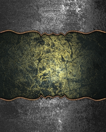 Design template - Iron grunge texture with a gilt plate for text Stock Photo - 18029367