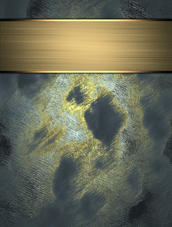 Abstract blue background with a worn gold, with gold plate photo