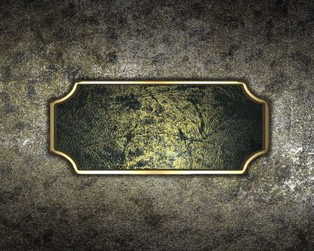 Design template - Old iron background with antique gold plate photo