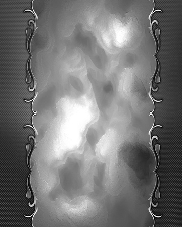 Template for design. Abstract iron texture with silver ornament edge Stock Photo - 18247030