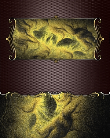 Beautiful brown background, with abstract gold plate with gold trim photo
