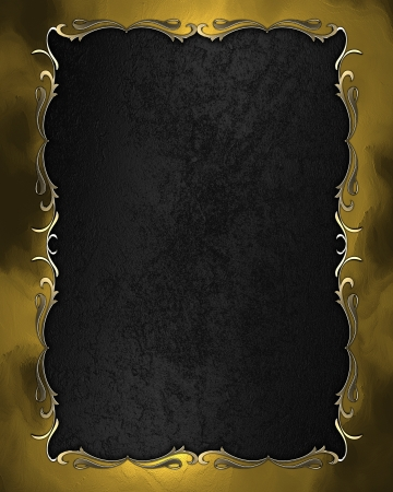Design templates - Black texture with golden frame with pattern Stock Photo