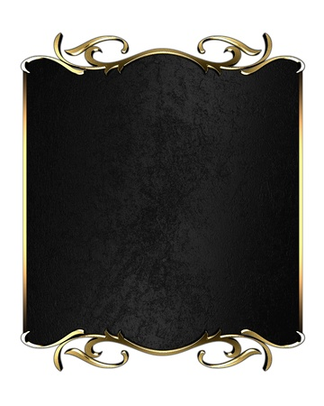 Template of gold plate  isolated white background photo