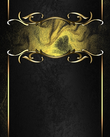 Template for writing. Black name plate with gold ornate edges, on dark background photo